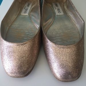 Jimmy Choo Flats Ballet Shoe Glitter Sand